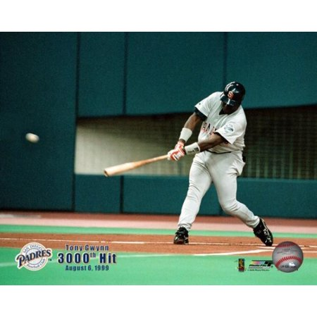 Tony Gwynn   19 Of The San Diego Padres Gets His 3000Th Hit With A Single In The First Inning Against The Montreal Expos At Olympic Stadium With Overlay August 6 1999 Photo Print
