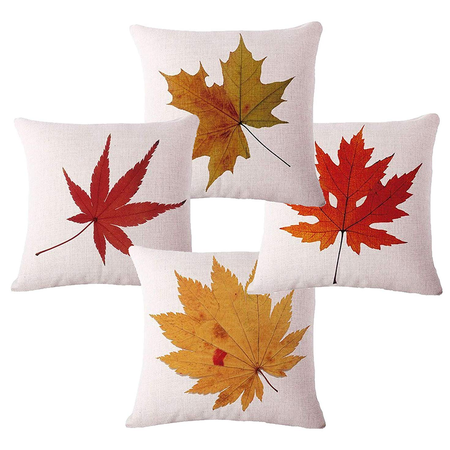 Sufam Set Of 4 Pillow Cases Autumn Cozy Fall Red And Gold Maple Leaves Seasonal Modern Simple Pastoral Throw Pillowcase Cover Cushion Case Home Decor 16x16 Inch Walmart Com Walmart Com
