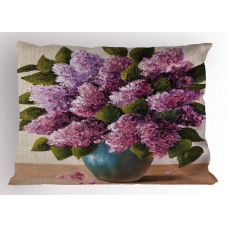 Flower Pillow Sham Oil Painting Artwork of a Spring Bouquet in a Vase Lilac Blossoms Seasonal Nature, Decorative Standard Size Printed Pillowcase, 26 X 20 Inches, Multicolor, by (Standard Sizes Of Frames For Oil Paintings)