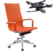 Yescom Executive High Back Ribbed PU Leather Swivel Office Computer Chair Orange XL