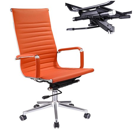 Yescom Executive High Back Ribbed PU Leather Swivel Office Computer Chair Orange XL Brown Bomber Leather Executive Chair