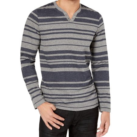 INC Men's Medium Striped Long-Sleeve Henley Shirt