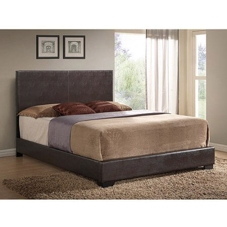 Ireland Queen Faux Leather Bed, Brown (Dark Brown Bead)