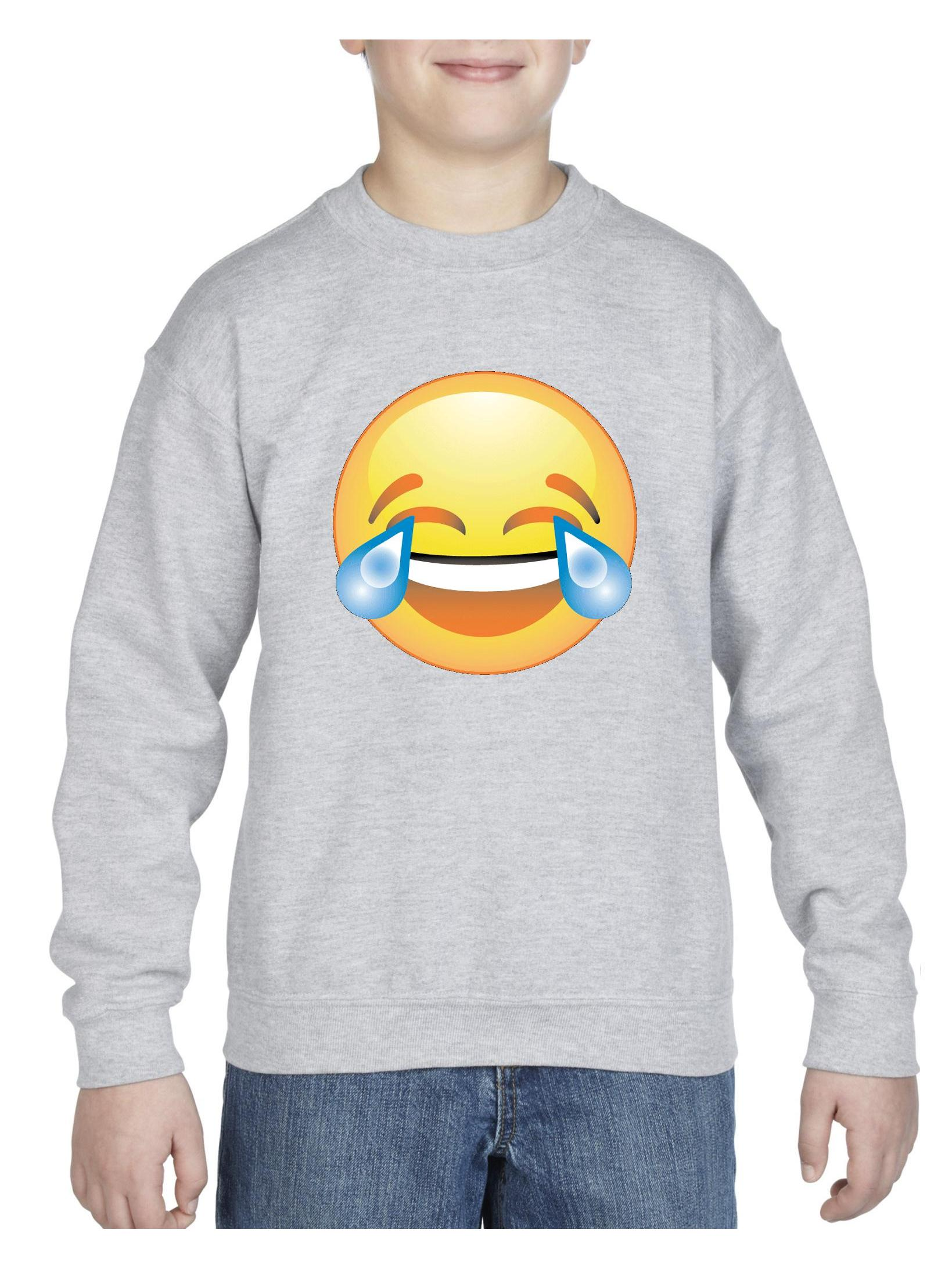 Emoji Laughing Tears Unisex Youth Crewneck Sweatshirt