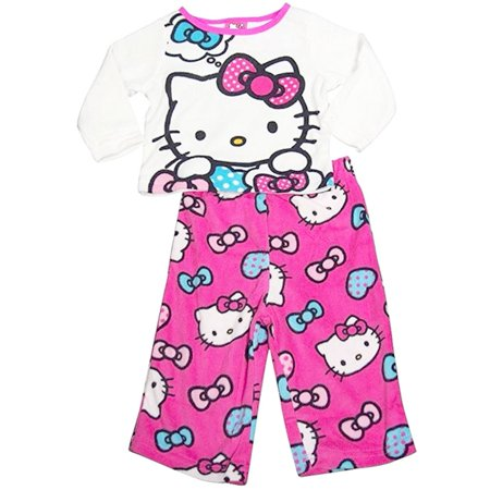 Hello Kitty Little Girls White Cartoon Character Print 2 Pc Pajama Set