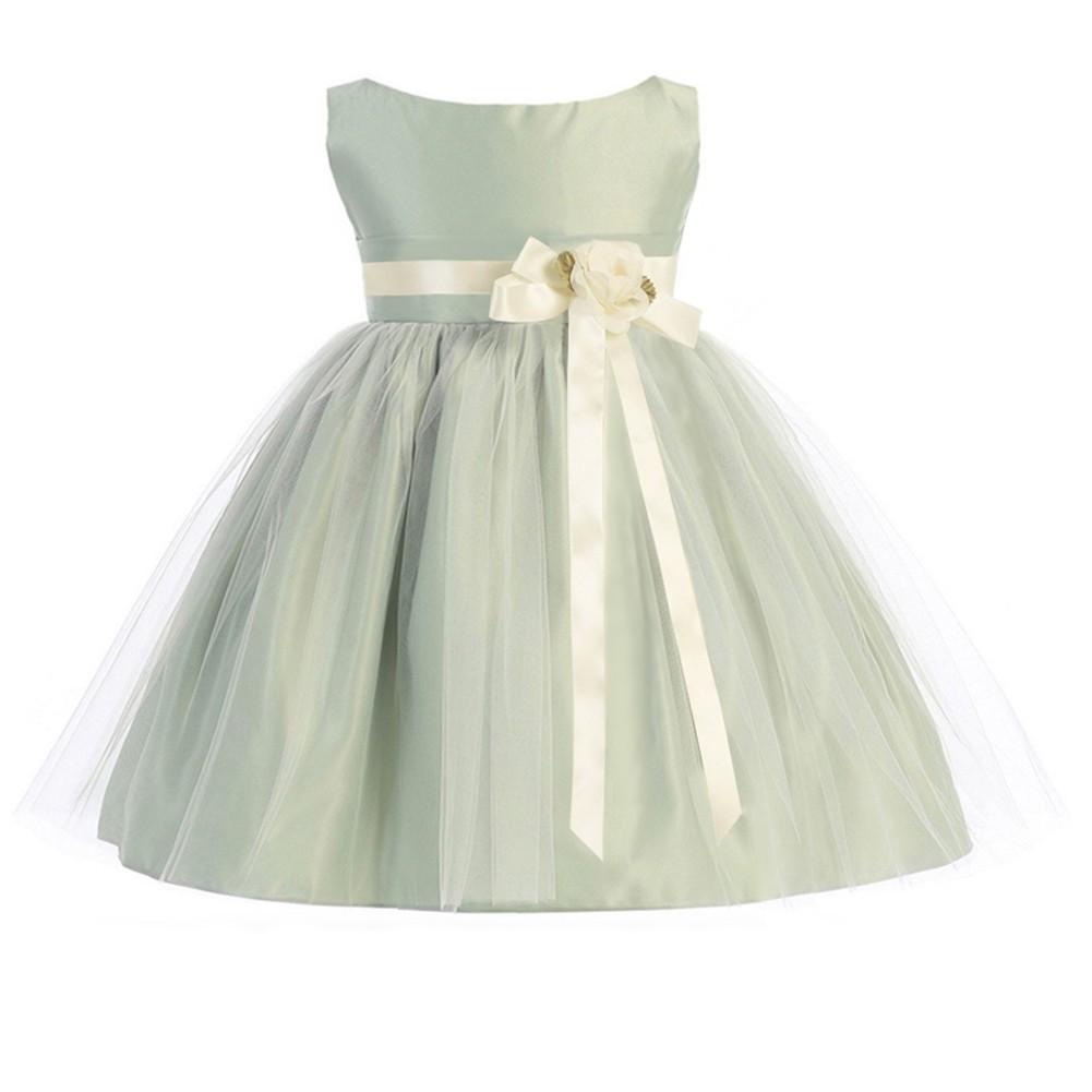 get new latest design good texture Sweet Kids - Sweet Kids Baby Girls Sage Ivory Floral Accent Flower ...