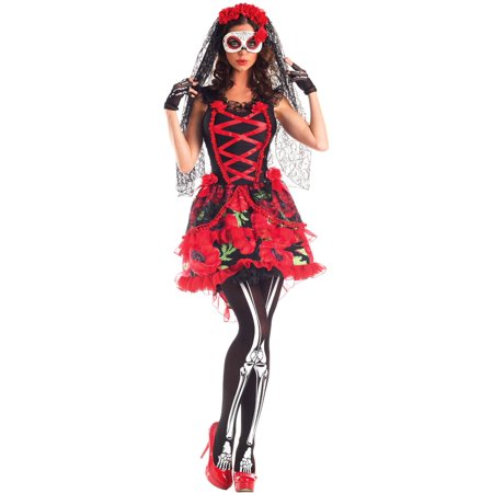 Day Of The Dead Womens Costume (Womens Deluxe Day of the Dead Senorita)