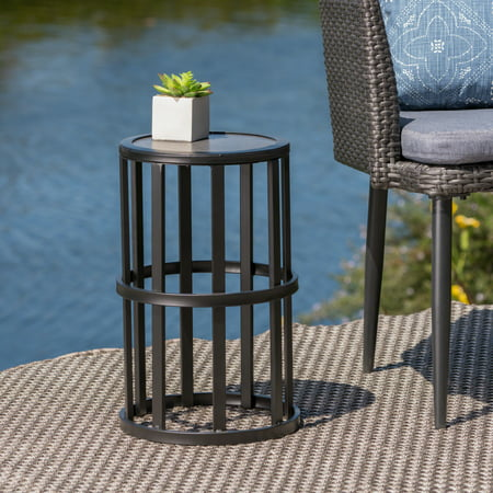 Curtis Outdoor 11 Inch Ceramic Tile Side Table, Grey, Black ()