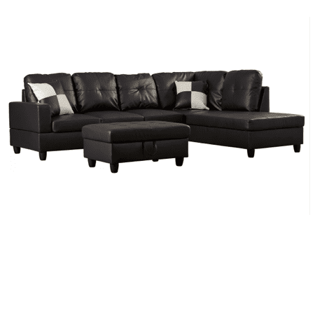 Miraculous Ult Classic Black Faux Leather Sectional Sofa Right Facing Chaise 74 5D X 103 5W X 35H Pabps2019 Chair Design Images Pabps2019Com