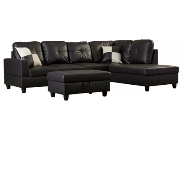 "ULT Classic Black Faux Leather Sectional Sofa, Right Facing Chaise, 74.5""D x 103.5""W x 35""H"