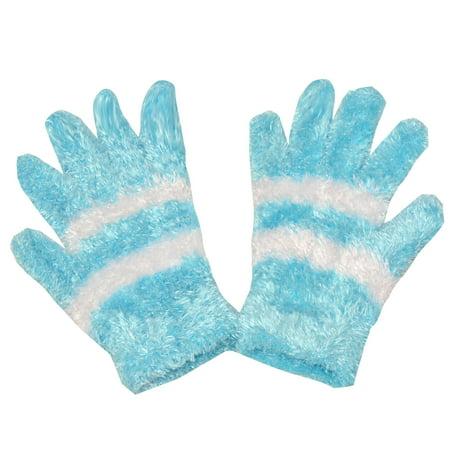 Aqua Brass Gold Mirror (Gold Medal Women Aqua Contrast Stripe Fuzzy Texture Winter Gloves One Size )