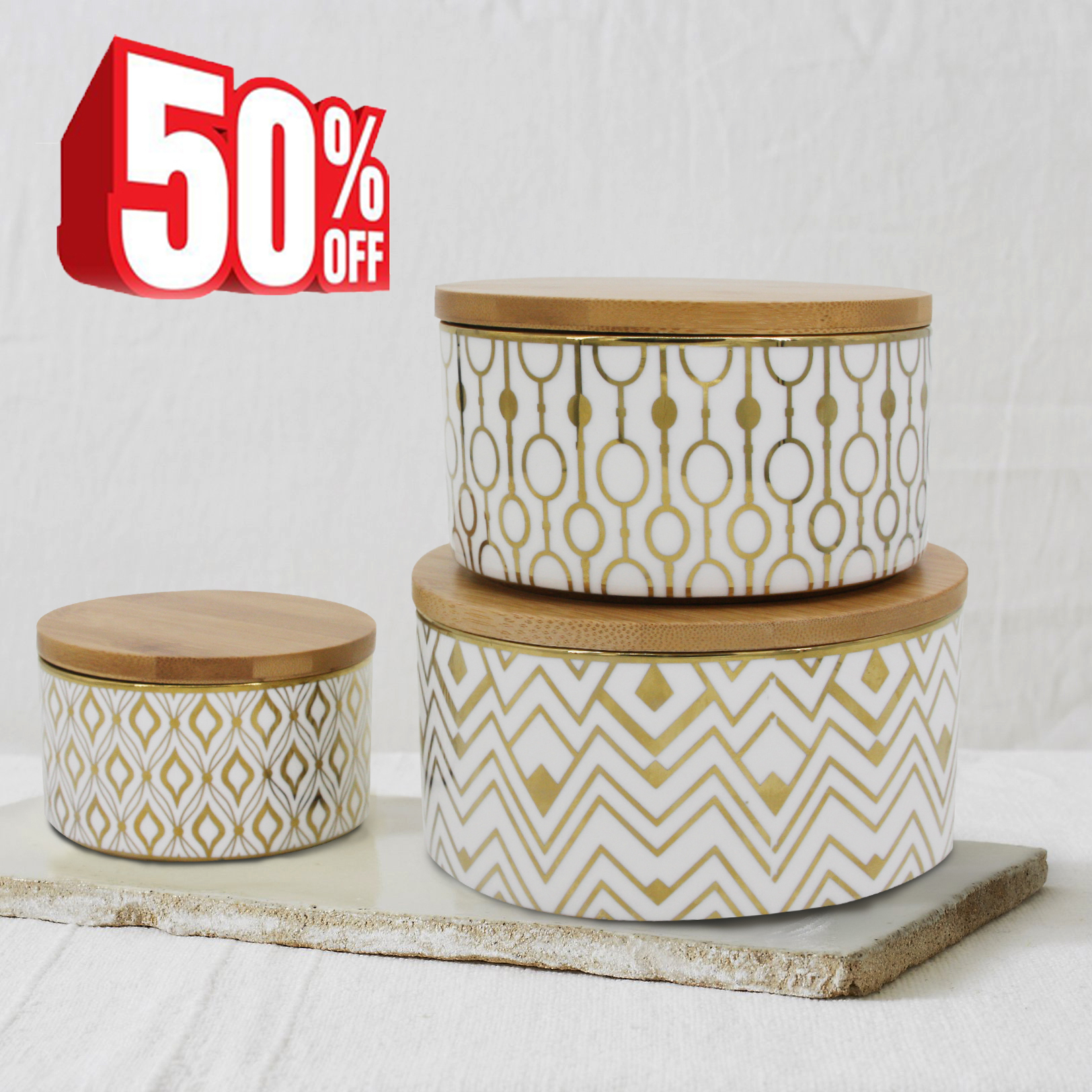 Canister Sets Kitchen Decorative Container Jars Airtight Bamboo Lids Gold  Geometric For Tea, Coffee,