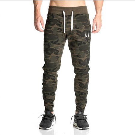 Winter Autumn Drawstring Men Camouflage Elastic Waist Fitness Running Pant Slim Fit Casual Sport