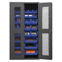 Durham MFG EMDC-362472-30B-5295 Bin Cabinet,Vent,14ga,30Bins,BL,24inD