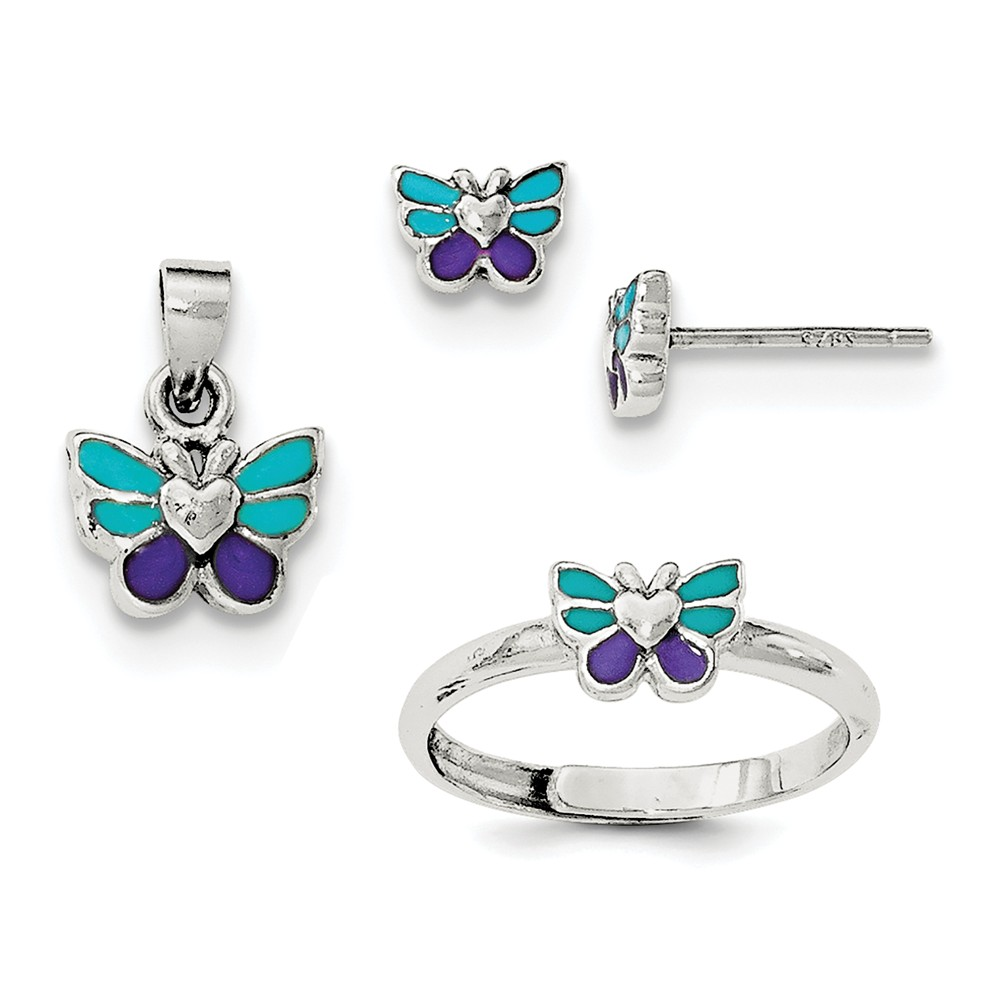 Goldia Sterling Silver Enamel Butterfly Children's Earrin...