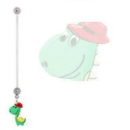 - Belly Button Ring Navel 14g BioFlex Pregnancy Navel Ring  Dangle  dinosaur