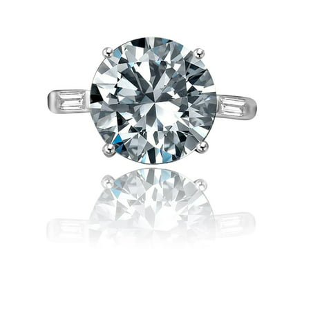Round Center W/Tapered Side Baguette Simulated Diamond - (Round Brilliant With Tapered Baguettes Engagement Ring)