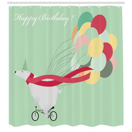 Polar Bear Shower Curtain, Happy Birthday Party Theme with Colorful Balloons Bear on Bike, Fabric Bathroom Set with Hooks, 69W X 70L Inches, Pale Green and Multicolor, by (70's Birthday Theme)