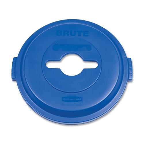 Rubbermaid Brute Heavy-Duty Recycling Container Lid - Round - Plastic - 1 Each - Blue