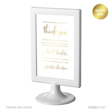 To Our Family & Friends, Thank You Framed Metallic Gold Wedding Party Signs](Custom Wedding Signs)