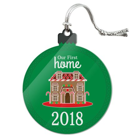 Our First Home 2018 Gingerbread House Acrylic Christmas Tree Holiday Ornament Bird House Christmas Tree Ornament