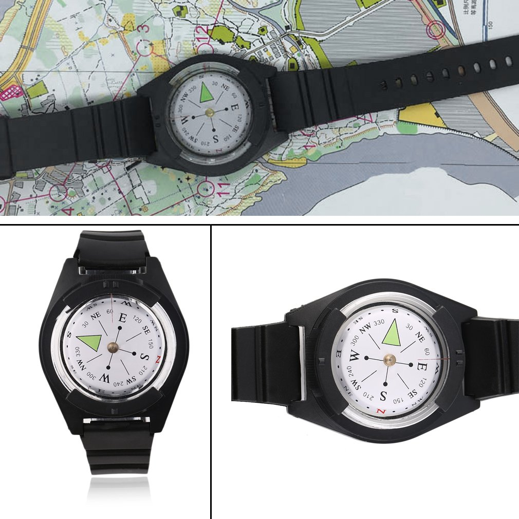 Tactical Wrist Compasses Military Outdoor Survival Strap Band Bracelet Plastic Compass by