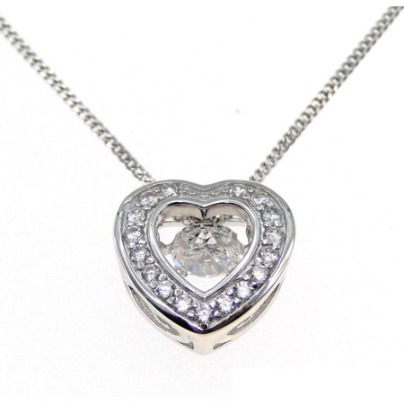 Beautiful Heart Shaped Pendant (Beautiful 1.56 Carat Heart Shaped Round Cubic Zirconia Dancing Diamond Necklace In 925 Sterling Silver )