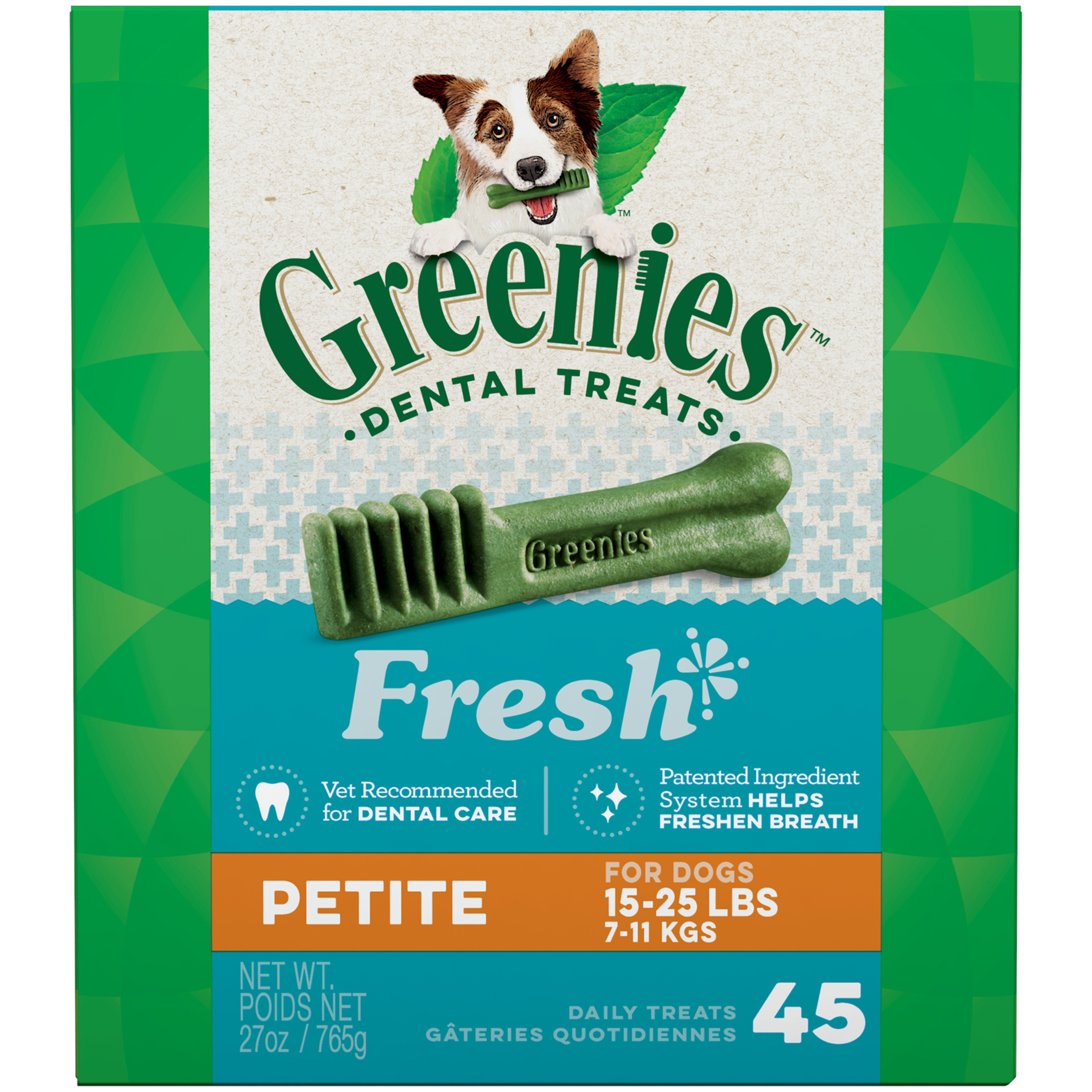 GREENIES Fresh Petite Dental Dog Treats, 27 oz. Pack (45 Treats)