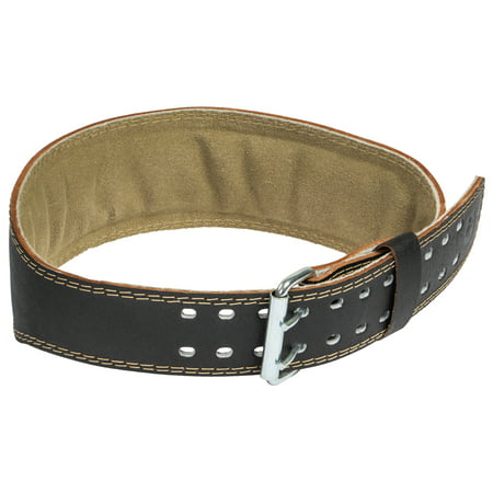Harbinger Padded Leather Contoured Weightlifting Belt with Suede Lining and Steel Roller Buckle, 4-Inch, Medium