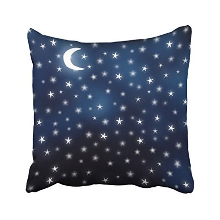 Faceplate Design Blue Star (WinHome Square Throw Pillow Covers Stars Moon Blue Night Sky Dream White Navy Pillowcases Polyester 18 X 18 Inch With Hidden Zipper Home Sofa Cushion Decorative Pillowcase )