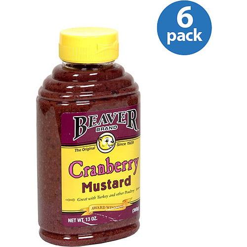 Beaver Brand Cranberry Mustard, 13 oz, (Pack of 6)