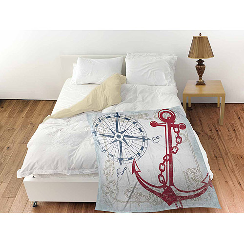 "Thumbprintz Anchors Away White Coral Fleece Throw, 30"" x 40"""