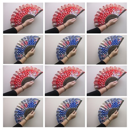 Folding Hand Fan - 12 x Chinese Hand Fan Spanish Foldable Dance Multi Pattern Party Wedding Folding