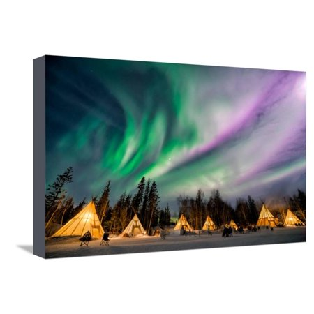 A Wonderful Night with Kp 5 Index Northern Lights at Aurora Village in Yellowknife. Stretched Canvas Print Wall Art By Ken Phung ()