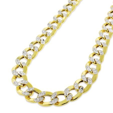 """14k Yellow Gold 9.5mm Hollow Cuban Curb Link Diamond Cut Two-Tone Pave Necklace Chain 24"""" - 28"""""""