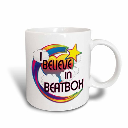 Design 24 Ounce Teapot - 3dRose I Believe In Beatbox Cute Believer Design, Ceramic Mug, 15-ounce