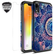 iPhone XR Case With Tempered Glass Screen Protector, Kaesar Slim Hybrid Dual Layer Graphic Fashion Colorful Cover Armor Case for Apple iPhone XR (Mandala)