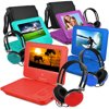 """Ematic 9  Portable DVD Player with Color Headphones and Carrying Bag, Bundle Bring your favorite movies and videos on the road with you with the Ematic 9"""" Portable DVD Player. This device comes with matching headphones so you can listen to the audio with crystal clear sound. It has a 9"""" LDC screen for easy viewing that will tilt and swivel up to 180 degrees. There is a built-in stereo speaker on this 9"""" DVD player for when you want to listen along with friends. It comes with an AC/DC power adapter. Charge up the battery when you are home so it is ready to go when you want to bring it with you. The Ematic DVD player with color headphones and carrying bag is built to last a long time. Use this Ematic 9"""" Portable DVD Player for your on-the-go entertainment needs."""