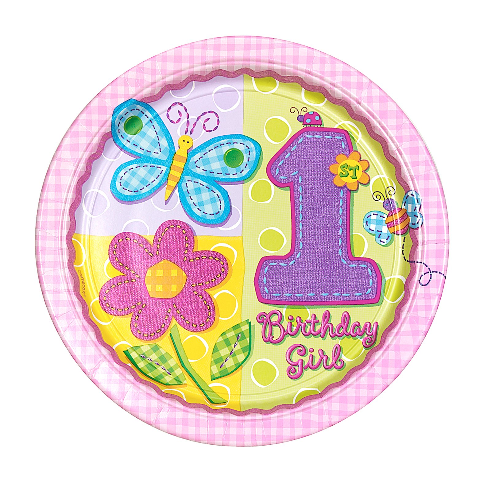 "Anagram Hugs & Stitches Happy 1st Birthday Girl Standard 18"" Foil Balloon"
