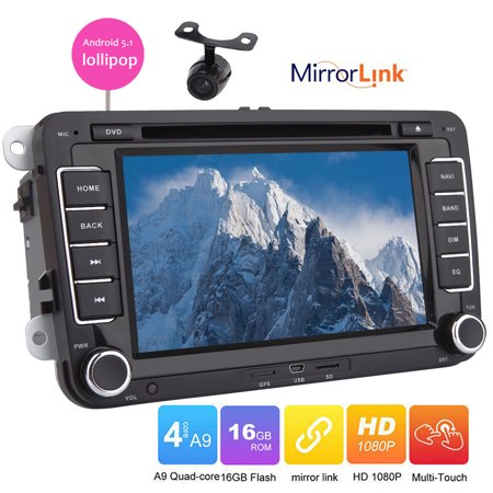 Eincar Car DVD player for VW Golf 5 6 Polo Passat CC Jetta Tiguan Touran EOS Sharan Scirocco Caddy Android 5.1 lollipop built-in GPS navigation Radio bluetooth wifi mirror link canbus capacitive (Best Golf Caddy App Android)