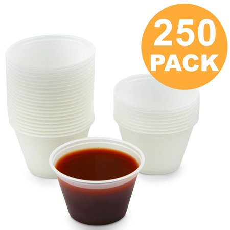 4 oz Plastic Portion Cup - Disposable Jello Shots Sauce Condiment Souffle Dressing Mini Containers, Medicine Cups No Lids [250 Pack]