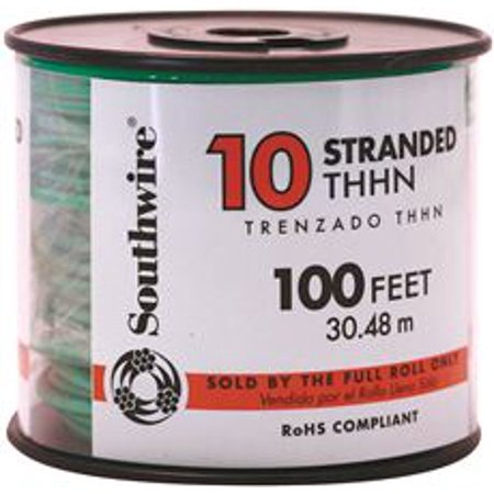 Southwire Simpull Thhn, 10 Gauge Thhn Stranded Wire, Green, 100 Ft ...