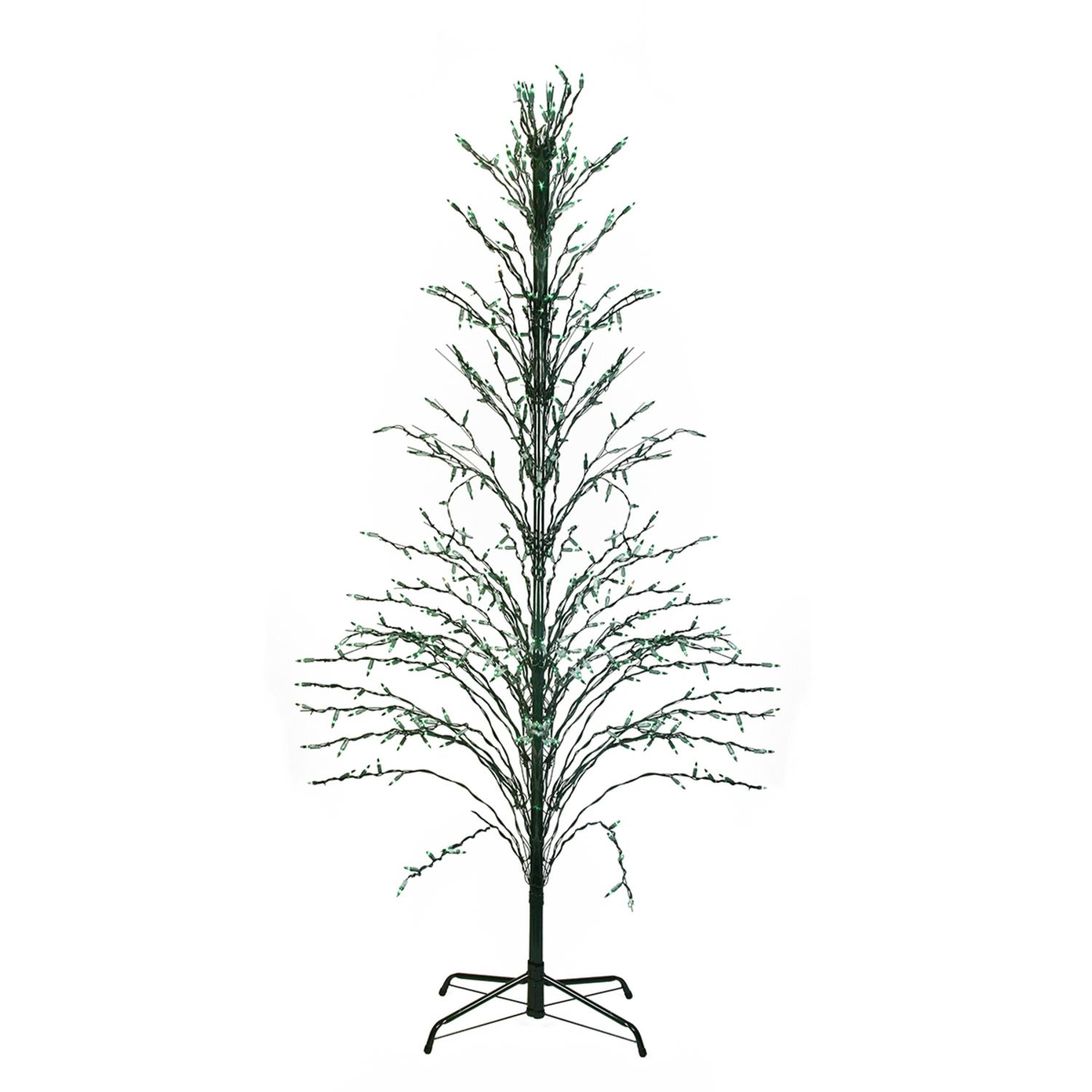 4' Green Lighted Christmas Cascade Twig Tree Outdoor Yard Art Decoration - Green Lights