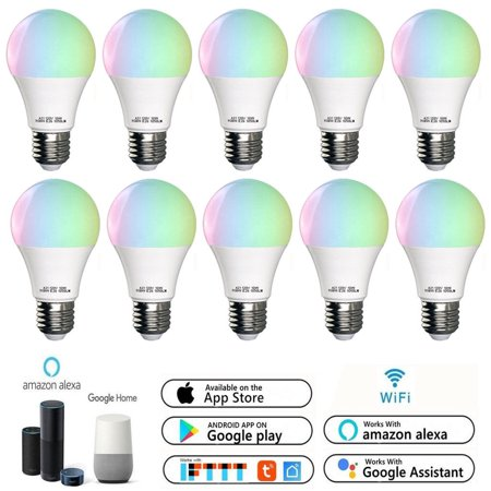 10 Pack WiFi 10W A21 Smart Multi-Color LED light Bulb ,Voice/App Controller,Compatible with Amazon Alexa Google (Best Uses Google Home)