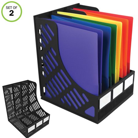 O-stand Tall Desktop Literature Racks - Evelots 3-Compartment File & Magazine Desktop Rack Holder Organizer, Set of 2