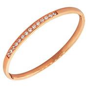 EDFORCE Stainless Steel Rose Gold-Tone Classic Oval-Shape White CZ Cuff Bangle Bracelet
