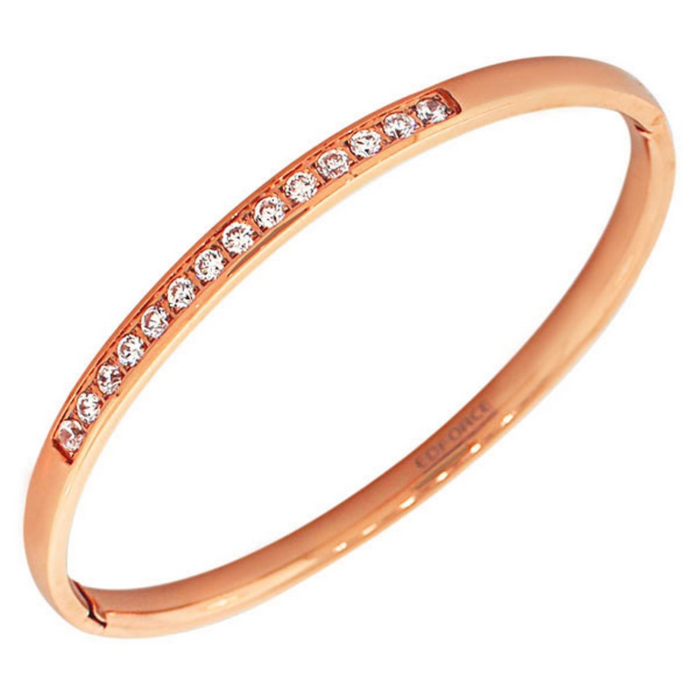 EDFORCE Stainless Steel Rose Gold-Tone Classic Oval-Shape White CZ Cuff Bangle Bracelet
