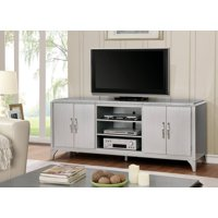 Furniture of America Geena 74 Inch TV Stand, Silver