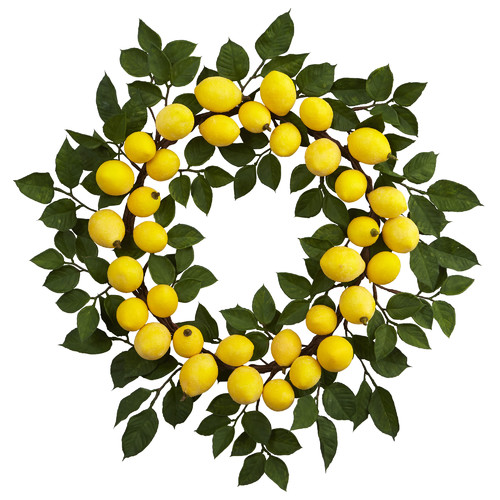 Nearly Natural Hayle 24'' Lemon Wreath
