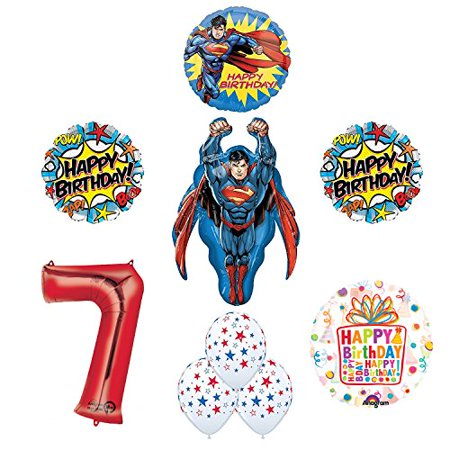 Superman Superhero 7th Birthday Party Supplies and Balloon - Superman Party Decorations